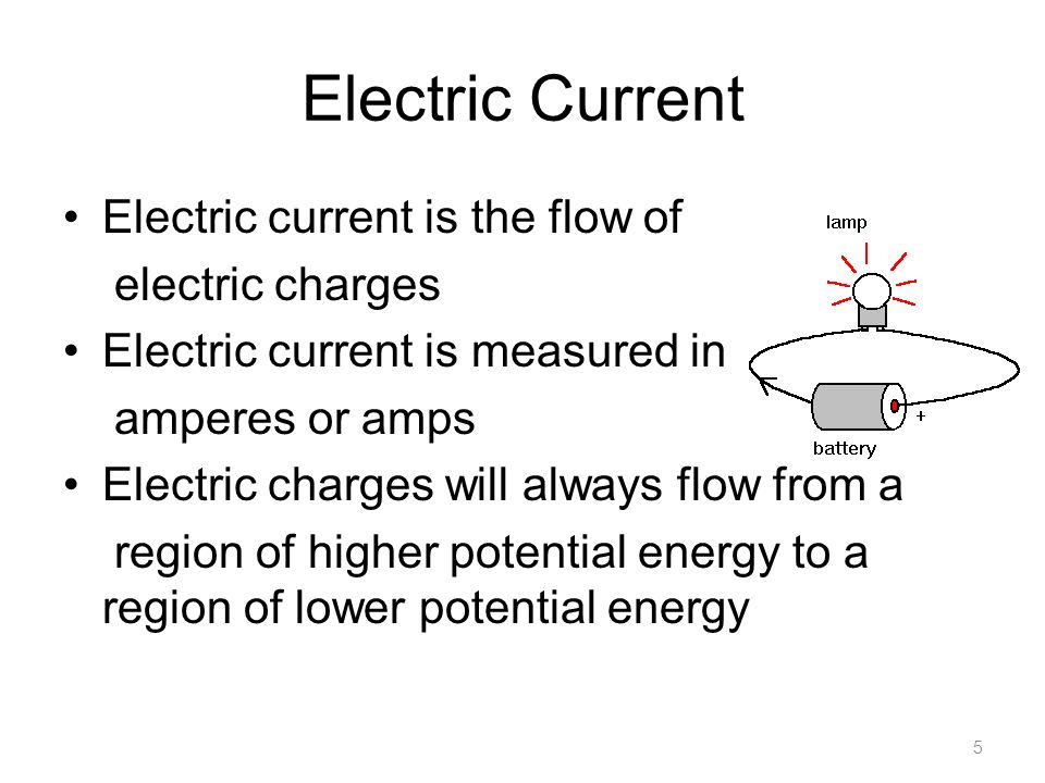 Electric Current Electric current is the flow of electric charges Electric current is measured in amperes or amps Electric charges will always flow from a region of higher potential energy to a region of lower potential energy 5