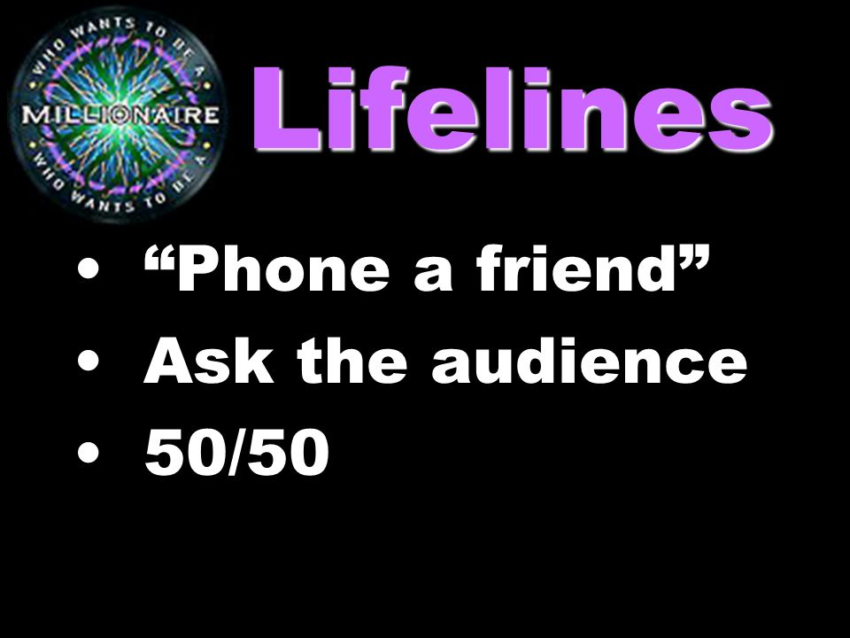 Lifelines Phone a friend Ask the audience 50/50