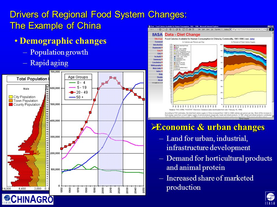 C HIN A GRO Drivers of Regional Food System Changes: The Example of China Demographic changes –Population growth –Rapid aging  Economic & urban changes –Land for urban, industrial, infrastructure development –Demand for horticultural products and animal protein –Increased share of marketed production