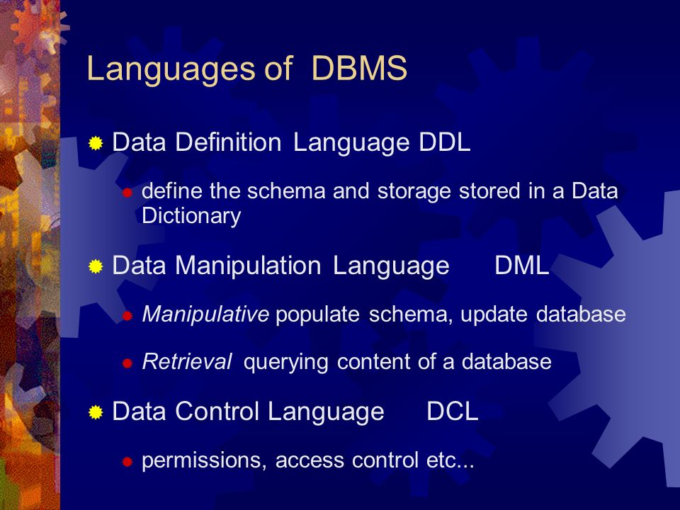 2 Languages Of Dbms Data Definition