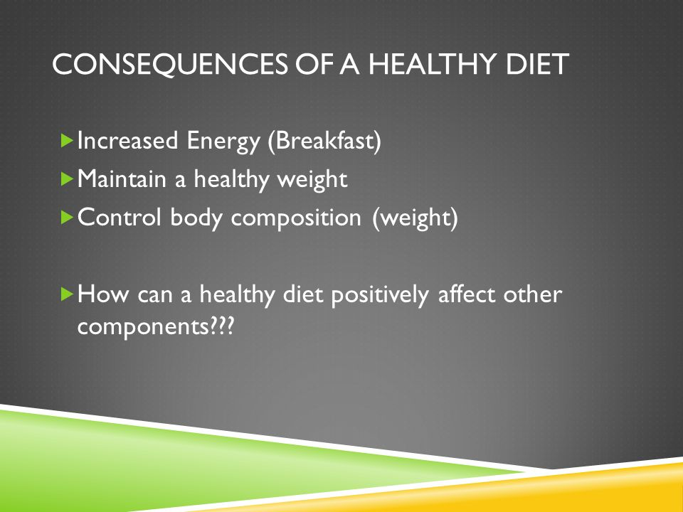 CONSEQUENCES OF A HEALTHY DIET  Increased Energy (Breakfast)  Maintain a healthy weight  Control body composition (weight)  How can a healthy diet positively affect other components