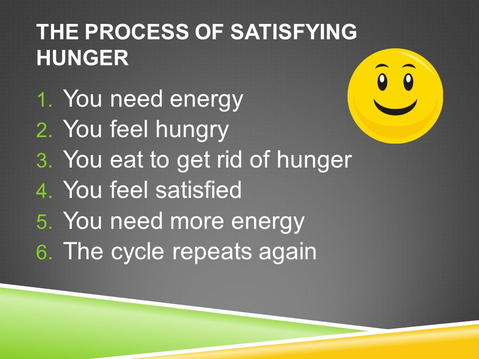 THE PROCESS OF SATISFYING HUNGER 1. You need energy 2.