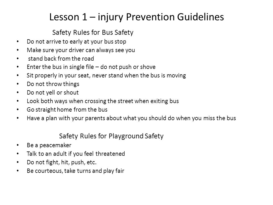 Lesson Safety Prevention Plans And Injury popular This