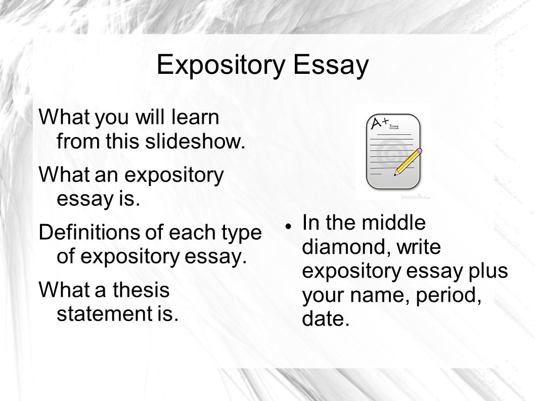 explository essay The typical format for an expository essay in school is the traditional five-paragraph essay this includes an introduction and a conclusion, with three paragraphs for the body of the paper most often, these three paragraphs are limited to one subtopic each.