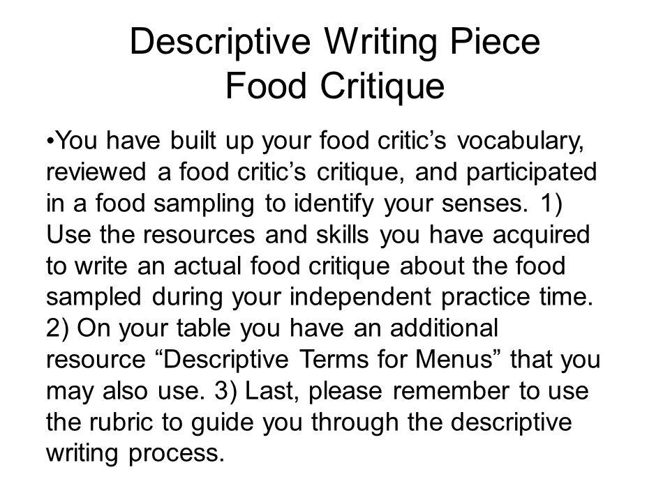 Descriptive writing piece
