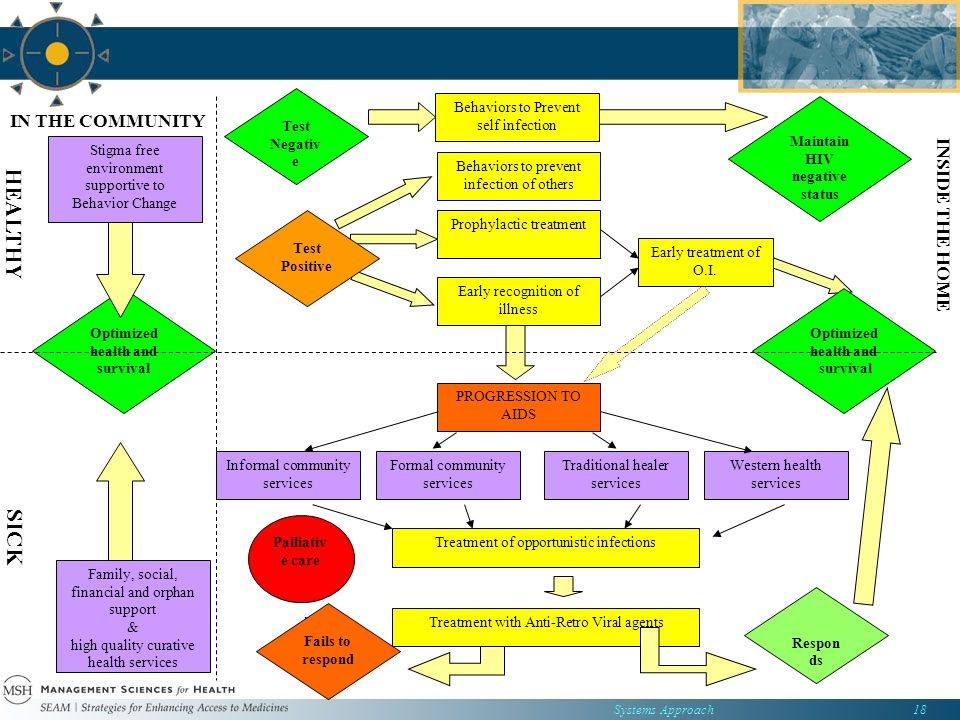 Systems Approach18 Optimized health and survival Maintain HIV negative status Behaviors to Prevent self infection Test Negativ e INSIDE THE HOME IN THE COMMUNITY SICK HEALTHY Treatment of opportunistic infections Respon ds Palliativ e care Western health services Traditional healer services Formal community services Informal community services PROGRESSION TO AIDS Early treatment of O.I.