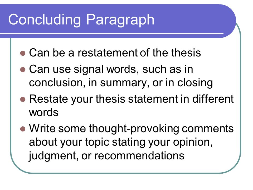 Writing Conclusion For Essay