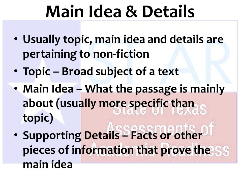 main idea theme and supporting details Umbrella diagrams - in the umbrella diagram, fill in the main idea and two supporting details my sister's room - you can think of the main idea as the cover of an umbrella - it is the big idea that covers the smaller details.