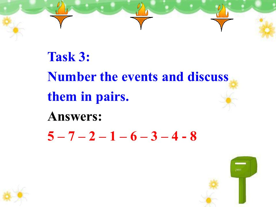 Task 3: Number the events and discuss them in pairs. Answers: 5 – 7 – 2 – 1 – 6 – 3 – 4 - 8
