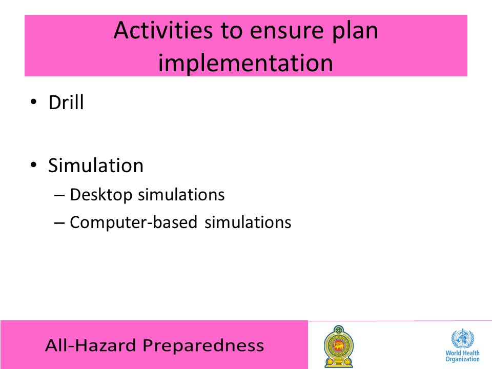 Activities to ensure plan implementation Drill Simulation – Desktop simulations – Computer-based simulations
