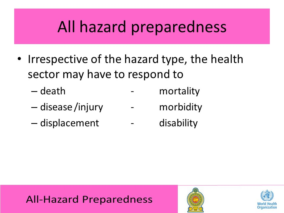 All hazard preparedness Irrespective of the hazard type, the health sector may have to respond to – death-mortality – disease/injury-morbidity – displacement-disability