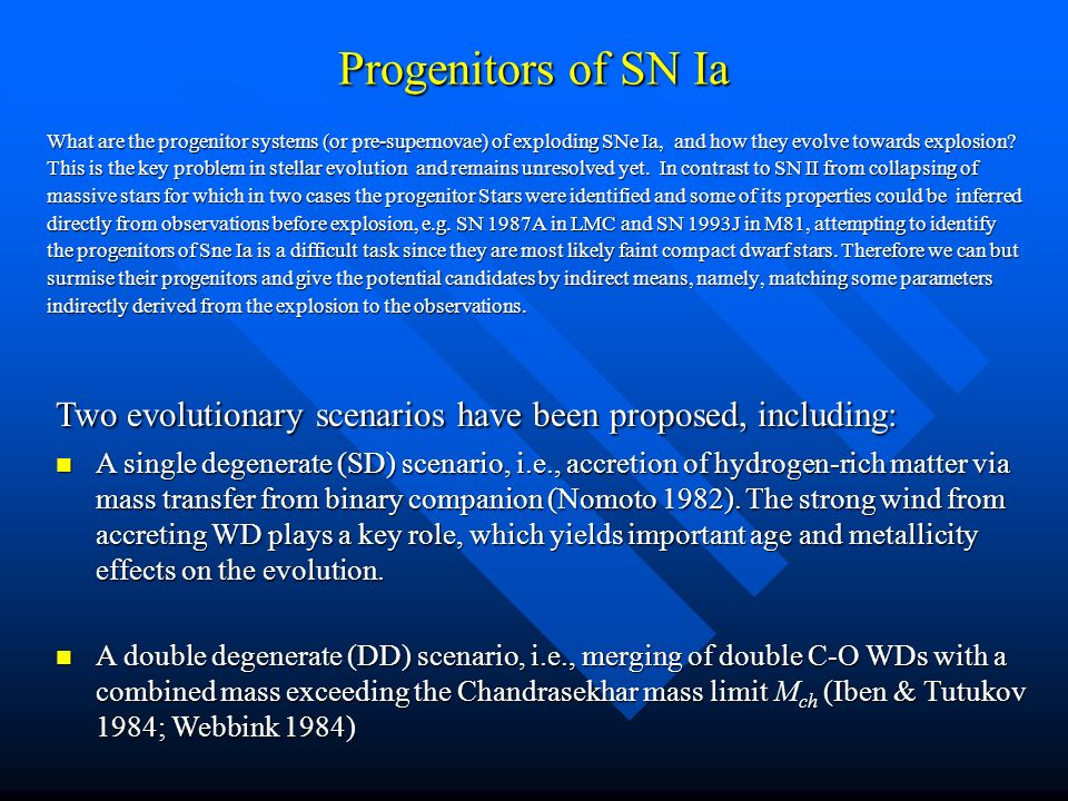 Progenitors of SN Ia What are the progenitor systems (or pre-supernovae) of exploding SNe Ia, and how they evolve towards explosion.