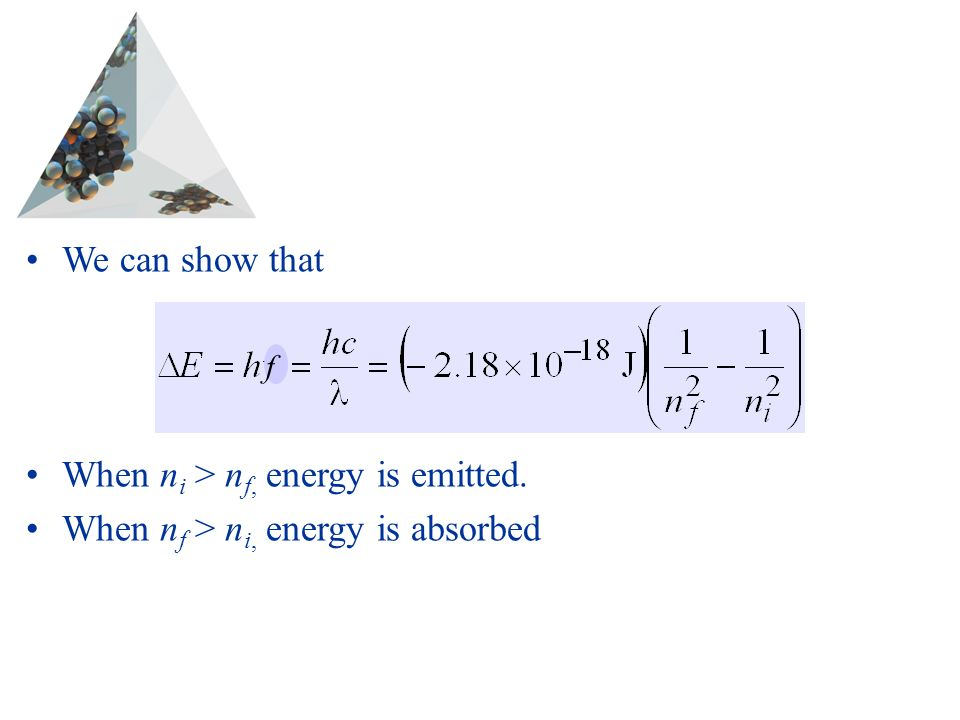 Prentice Hall © 2003Chapter 6 We can show that When n i > n f, energy is emitted.