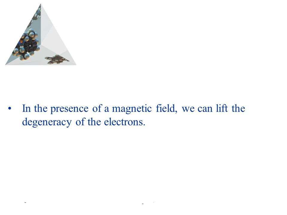 Prentice Hall © 2003Chapter 6 In the presence of a magnetic field, we can lift the degeneracy of the electrons.