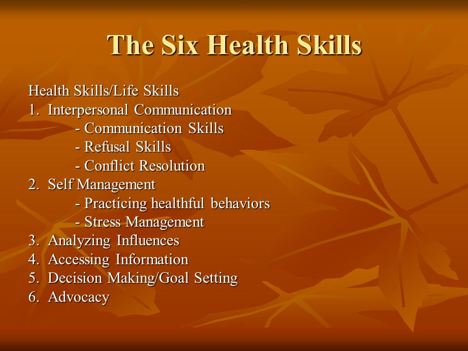 The Six Health Skills Health Skills/Life Skills 1.
