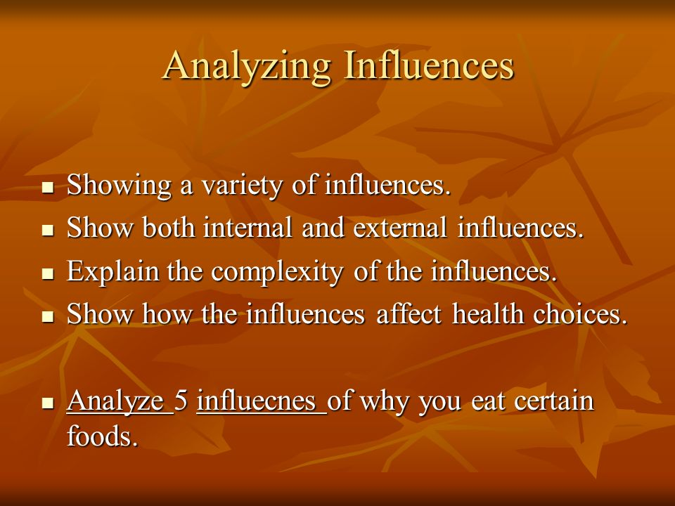 Analyzing Influences Showing a variety of influences.