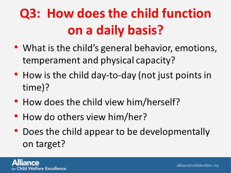 Q3: How does the child function on a daily basis.