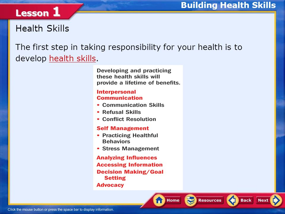 Lesson 1 Demonstrate communication skills to build and maintain healthy relationships Describe refusal strategies and conflict resolution skills Formu