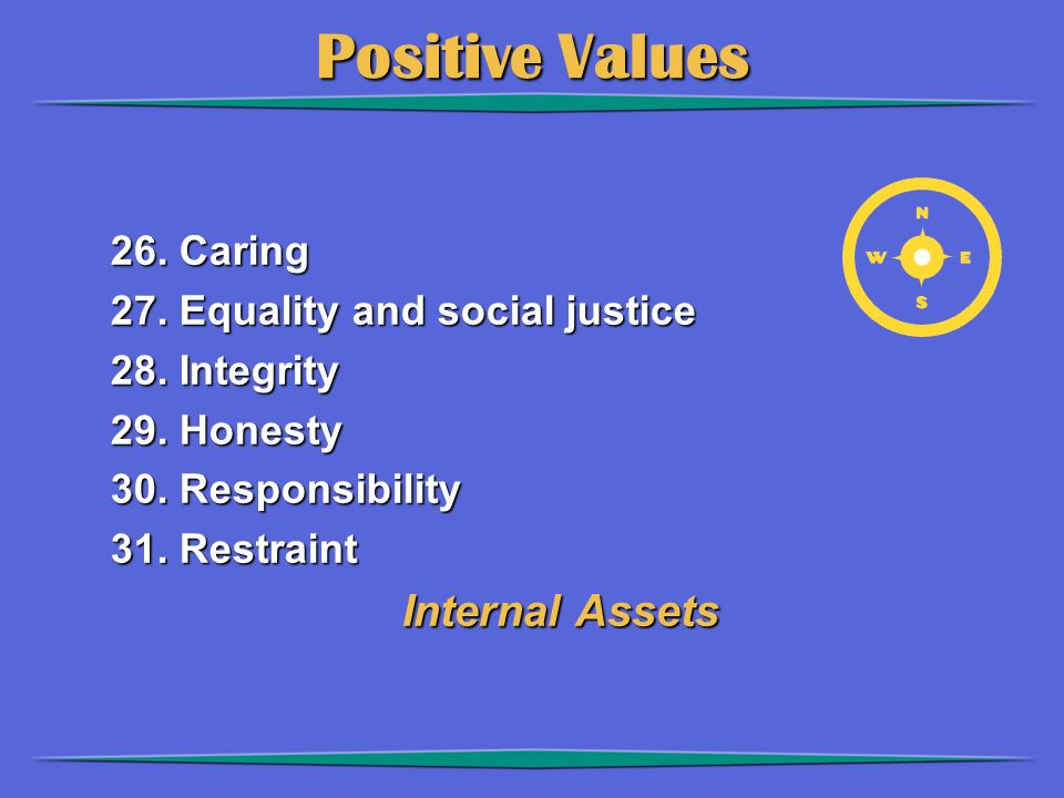 Positive Values 26. Caring 27. Equality and social justice 28.