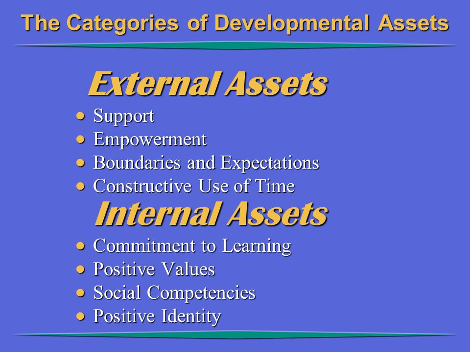 The Categories of Developmental Assets External Assets External Assets  Support  Empowerment  Boundaries and Expectations  Constructive Use of Tim