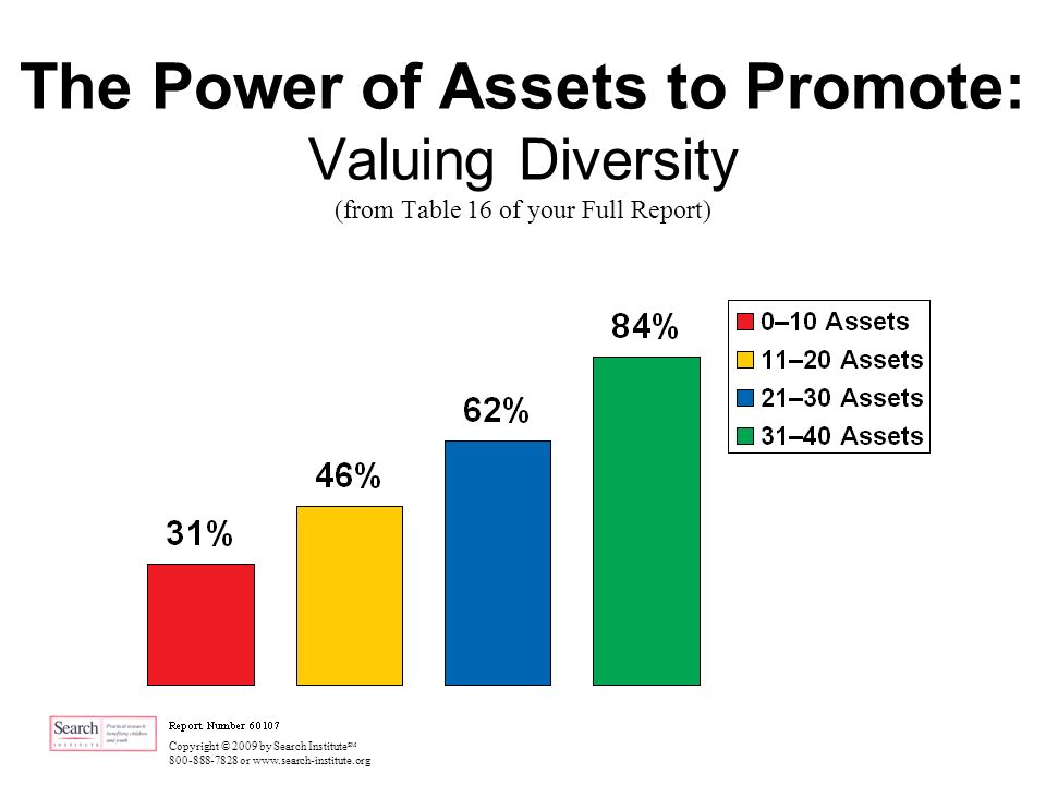 Copyright © 2009 by Search Institute SM 800-888-7828 or www.search-institute.org The Power of Assets to Promote: Valuing Diversity (from Table 16 of your Full Report)