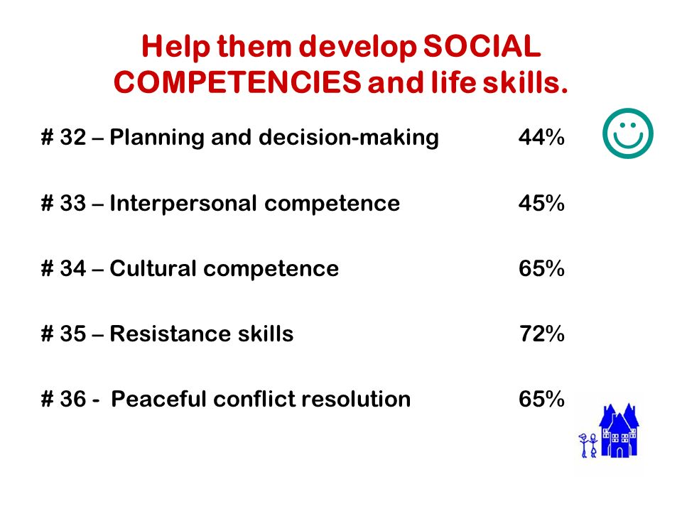 Help them develop SOCIAL COMPETENCIES and life skills.