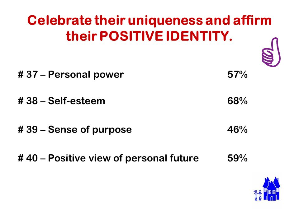 Celebrate their uniqueness and affirm their POSITIVE IDENTITY.