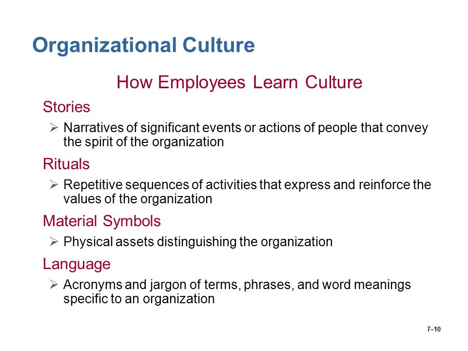 7–10 Organizational Culture How Employees Learn Culture Stories  Narratives of significant events or actions of people that convey the spirit of the organization Rituals  Repetitive sequences of activities that express and reinforce the values of the organization Material Symbols  Physical assets distinguishing the organization Language  Acronyms and jargon of terms, phrases, and word meanings specific to an organization