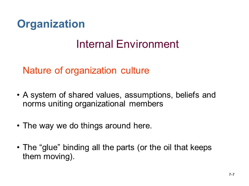 7–7 Organization Internal Environment Nature of organization culture A system of shared values, assumptions, beliefs and norms uniting organizational members The way we do things around here.