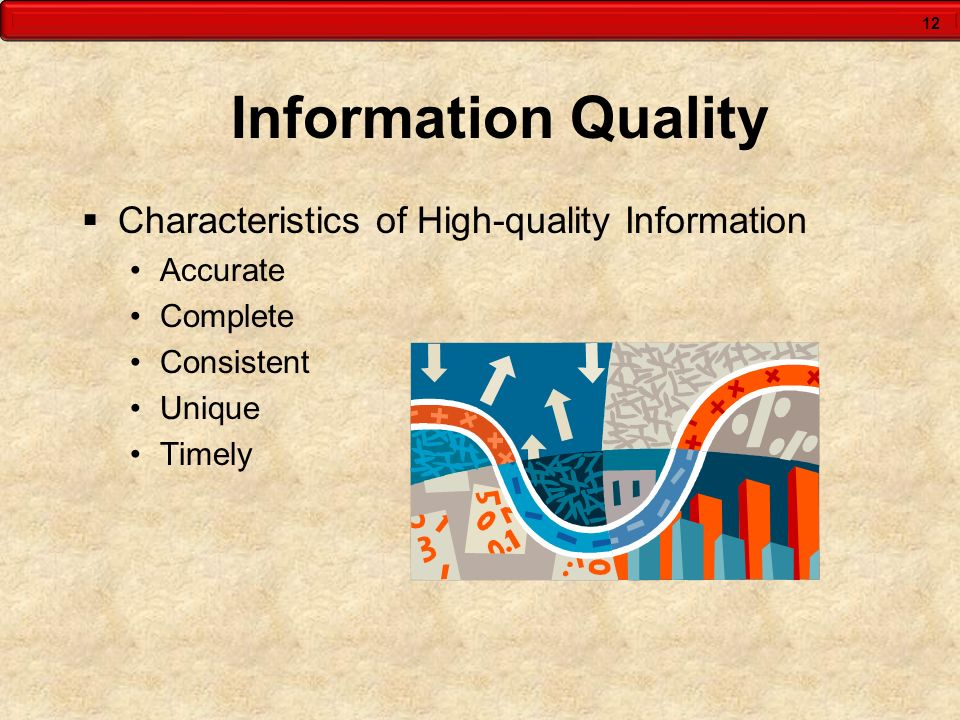 12 Information Quality  Characteristics of High-quality Information Accurate Complete Consistent Unique Timely