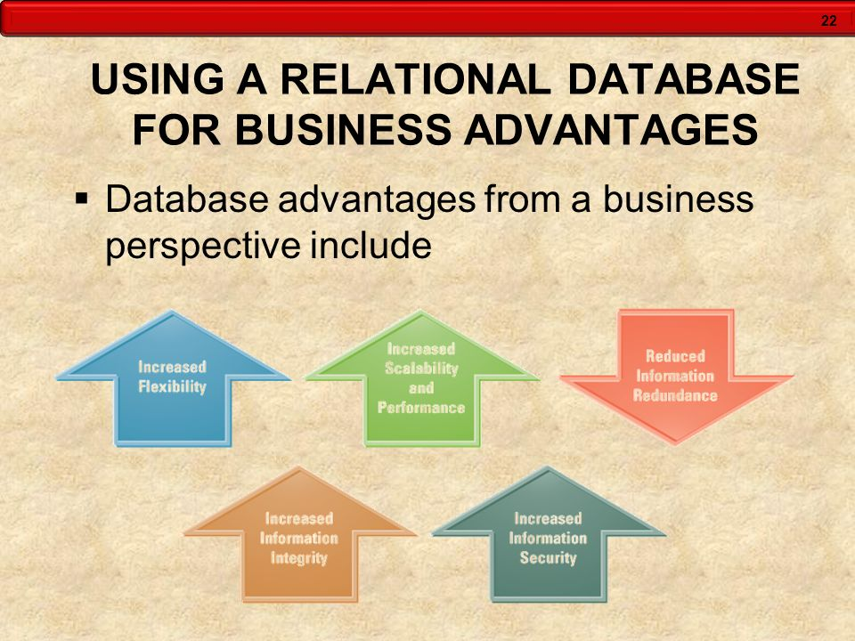 22 USING A RELATIONAL DATABASE FOR BUSINESS ADVANTAGES  Database advantages from a business perspective include