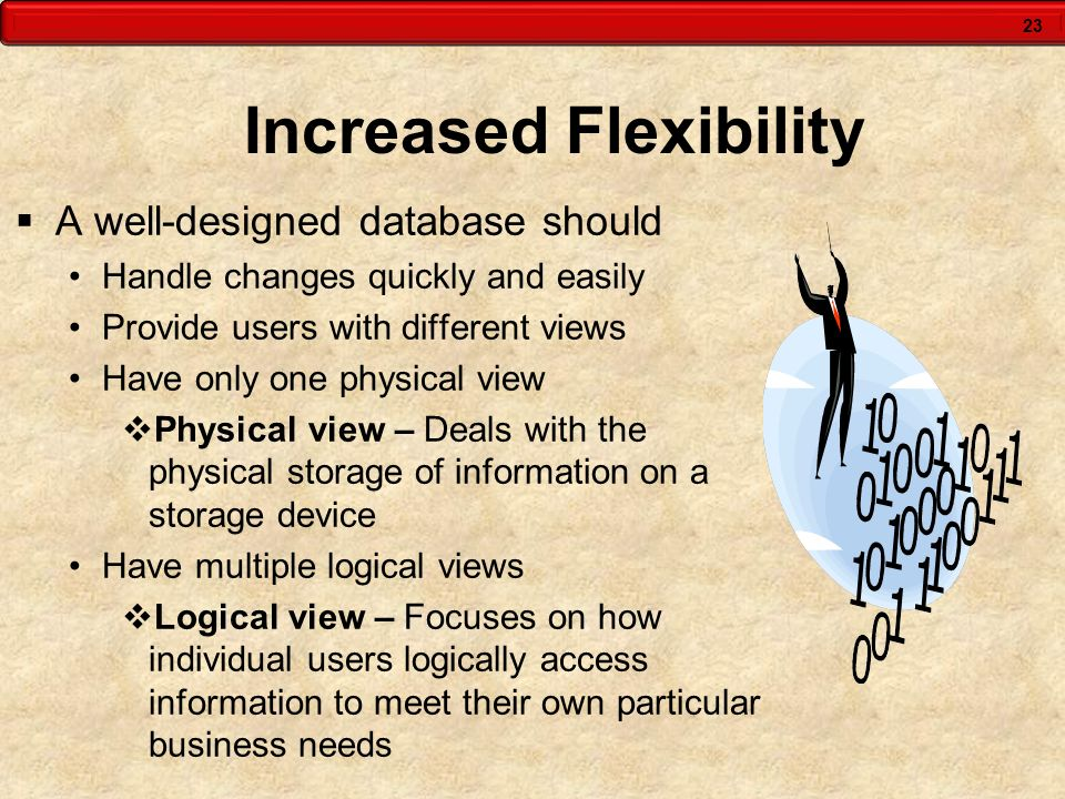 23 Increased Flexibility  A well-designed database should Handle changes quickly and easily Provide users with different views Have only one physical