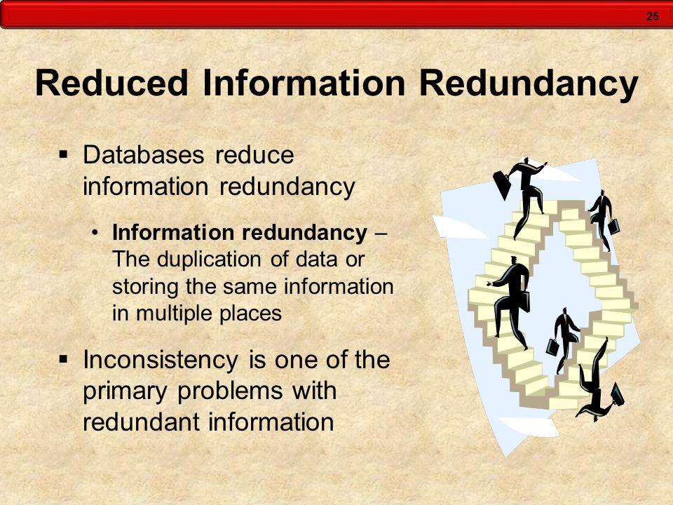 25 Reduced Information Redundancy  Databases reduce information redundancy Information redundancy – The duplication of data or storing the same infor