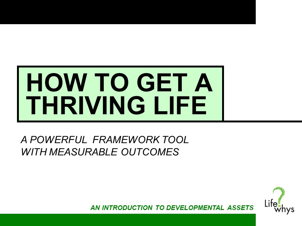 HOW TO GET A THRIVING LIFE A POWERFUL FRAMEWORK TOOL WITH MEASURABLE OUTCOMES AN INTRODUCTION TO DEVELOPMENTAL ASSETS
