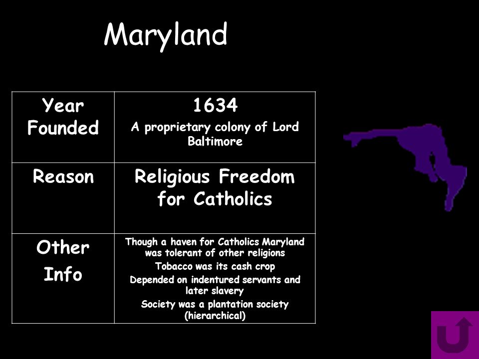 Maryland Year Founded 1634 A proprietary colony of Lord Baltimore ReasonReligious Freedom for Catholics Other Info Though a haven for Catholics Maryland was tolerant of other religions Tobacco was its cash crop Depended on indentured servants and later slavery Society was a plantation society (hierarchical)