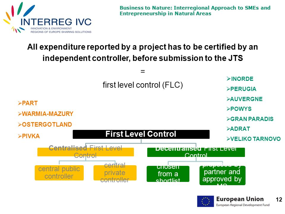 Business to Nature: Interregional Approach to SMEs and Entrepreneurship in Natural Areas 12 All expenditure reported by a project has to be certified by an independent controller, before submission to the JTS = first level control (FLC) First Level Control Centralised First Level Control central public controller central private controller Decentralised First Level Control chosen from a shortlist proposed by partner and approved by MS  INORDE  PERUGIA  AUVERGNE  POWYS  GRAN PARADIS  ADRAT  VELIKO TARNOVO  PART  WARMIA-MAZURY  OSTERGOTLAND  PIVKA
