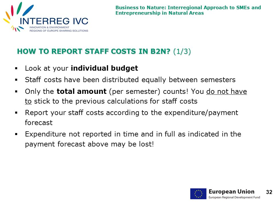 Business to Nature: Interregional Approach to SMEs and Entrepreneurship in Natural Areas 32 HOW TO REPORT STAFF COSTS IN B2N.