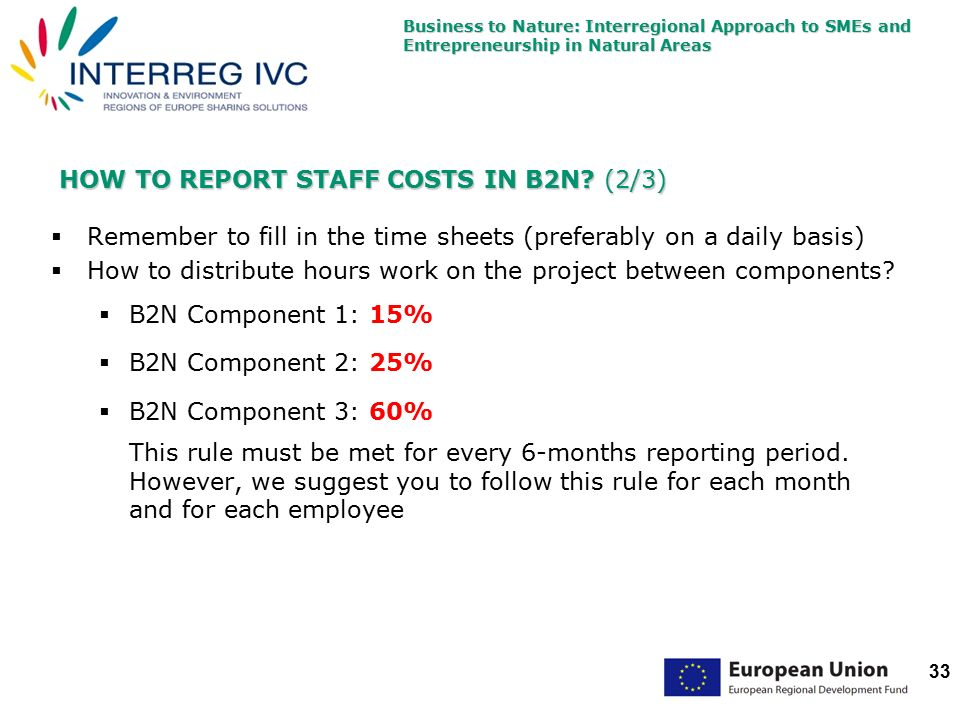 Business to Nature: Interregional Approach to SMEs and Entrepreneurship in Natural Areas 33 HOW TO REPORT STAFF COSTS IN B2N.