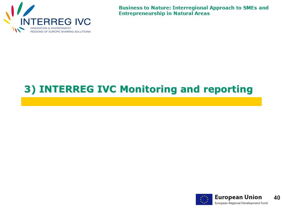 Business to Nature: Interregional Approach to SMEs and Entrepreneurship in Natural Areas 40 3) INTERREG IVC Monitoring and reporting