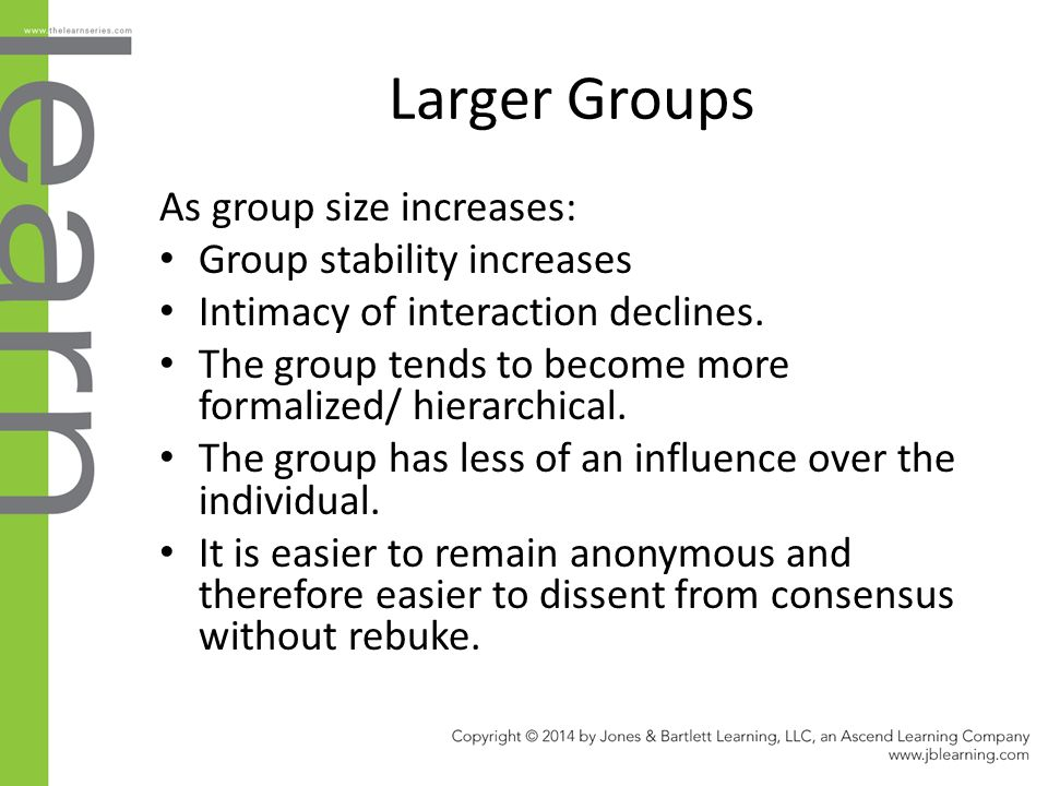 Larger Groups As group size increases: Group stability increases Intimacy of interaction declines.