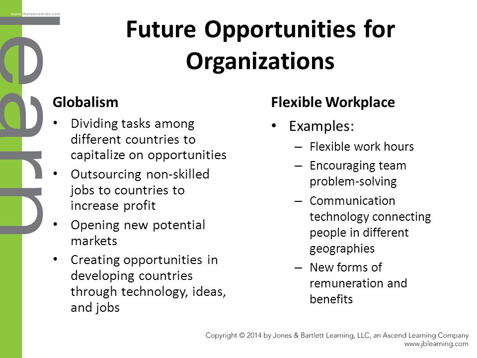 Future Opportunities for Organizations Globalism Dividing tasks among different countries to capitalize on opportunities Outsourcing non-skilled jobs to countries to increase profit Opening new potential markets Creating opportunities in developing countries through technology, ideas, and jobs Flexible Workplace Examples: – Flexible work hours – Encouraging team problem-solving – Communication technology connecting people in different geographies – New forms of remuneration and benefits