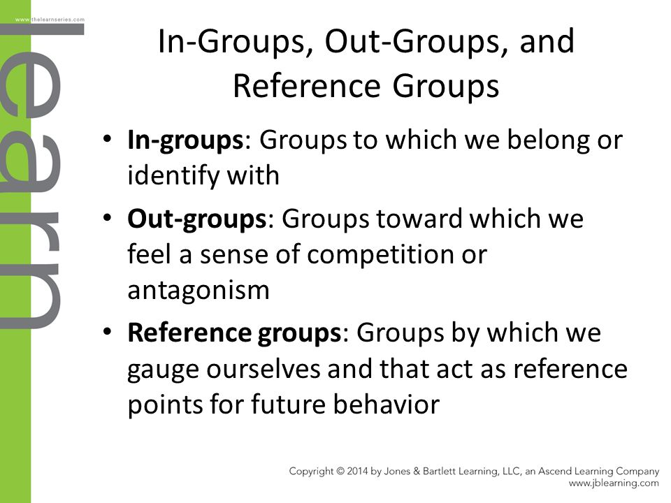 In-Groups, Out-Groups, and Reference Groups In-groups: Groups to which we belong or identify with Out-groups: Groups toward which we feel a sense of competition or antagonism Reference groups: Groups by which we gauge ourselves and that act as reference points for future behavior