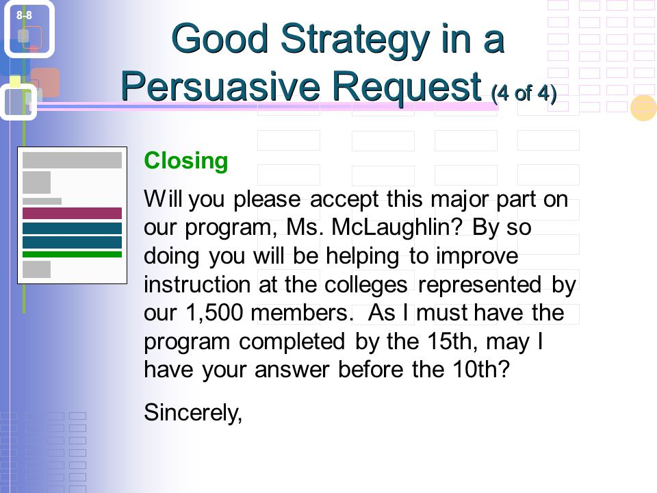 8-8 Closing Will you please accept this major part on our program, Ms.