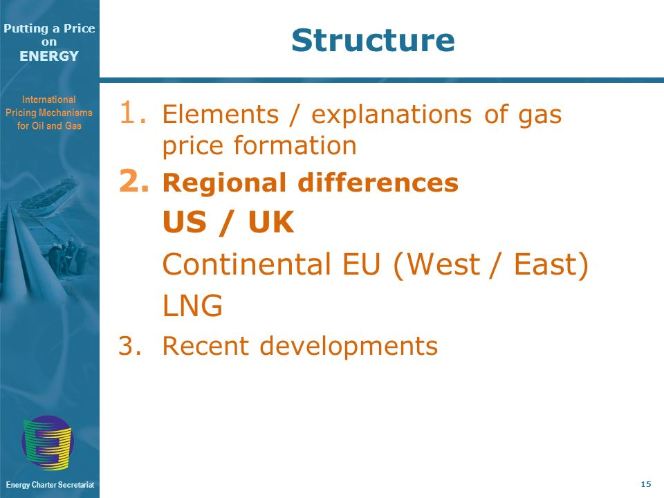 Putting a Price on ENERGY International Pricing Mechanisms for Oil and Gas Energy Charter Secretariat 15 Structure 1.