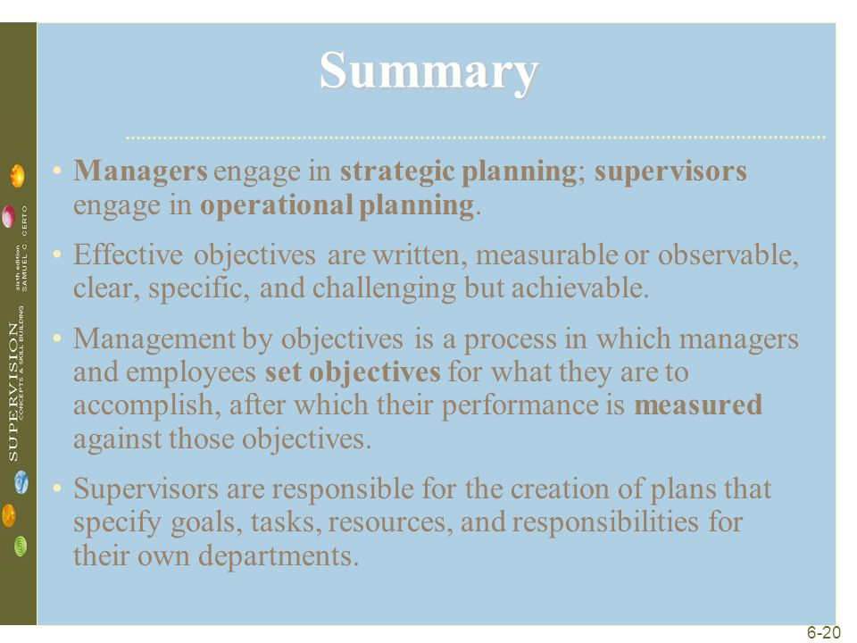 6-20 Summary Managers engage in strategic planning; supervisors engage in operational planning.