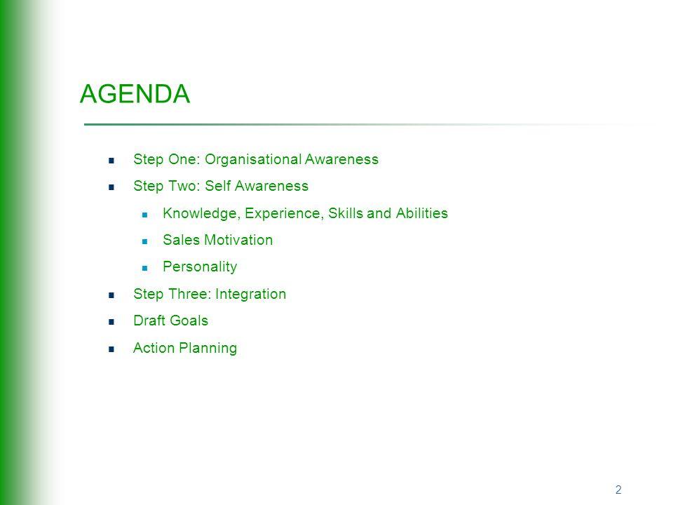 salesmax development workshop   agenda step one  organisational     agenda step one  organisational awareness step two  self awareness knowledge  experience