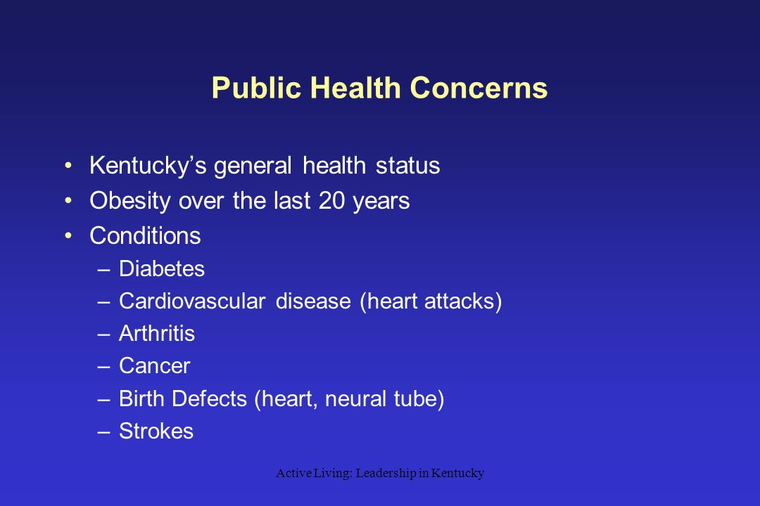 Active Living: Leadership in Kentucky Public Health Concerns Kentucky's general health status Obesity over the last 20 years Conditions –Diabetes –Cardiovascular disease (heart attacks) –Arthritis –Cancer –Birth Defects (heart, neural tube) –Strokes
