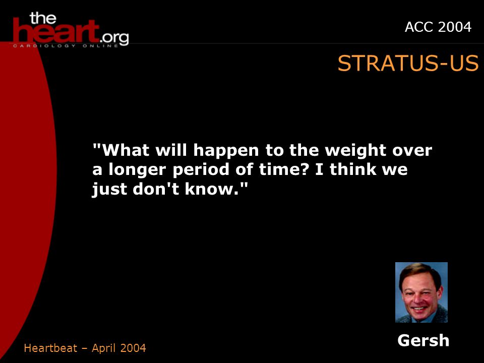 Heartbeat – April 2004 ACC 2004 What will happen to the weight over a longer period of time.