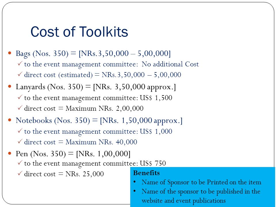 Cost of Toolkits Bags (Nos.