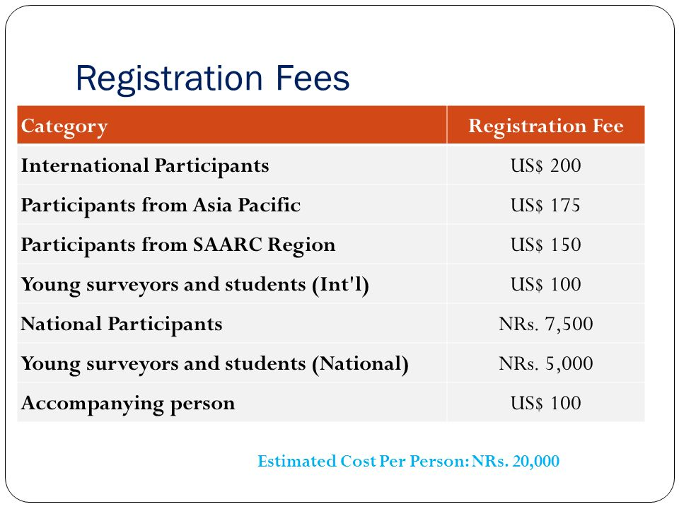 Registration Fees CategoryRegistration Fee International ParticipantsUS$ 200 Participants from Asia PacificUS$ 175 Participants from SAARC RegionUS$ 150 Young surveyors and students (Int l)US$ 100 National ParticipantsNRs.